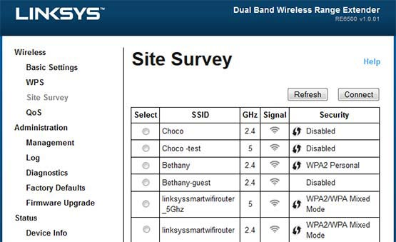 Site Survey on Linksys RE6400